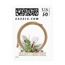 Western Lasso Wreath With Spurs Season's Greetings Postage