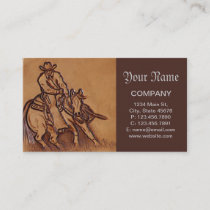 Western leather horseback Riding Rodeo Cowboy Business Card