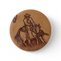 Western leather horseback Riding Rodeo Cowboy Pinback Button