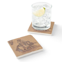 Western leather horseback Riding Rodeo Cowboy Stone Coaster