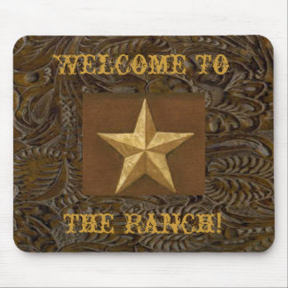 Western Leather Tool Print Star The Ranch Mousepad