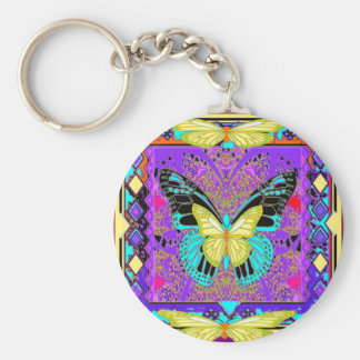 western  Lemon Butterflies Morphing  by Sharles Basic Round Button Keychain