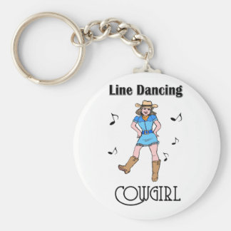 "Western ""Line Dancing Cowgirl"" Basic Round Button Keychain"