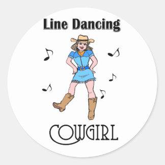 "Western ""Line Dancing Cowgirl"" Classic Round Sticker"