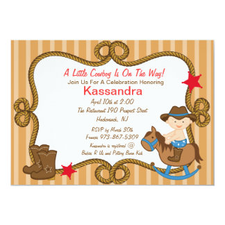 "Western Little Cowboy Baby Shower Invitation 5"" X 7"" Invitation Card"
