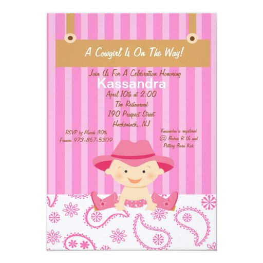 western little cowgirl baby shower invitation 5 x 7 invitation ca