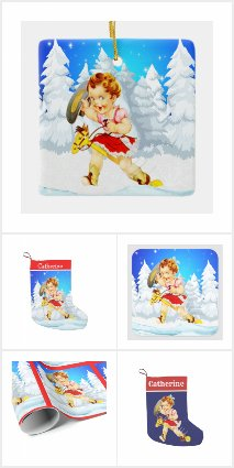 Western Little Cowgirl On Stick Horse Winter Scene