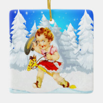 Western Little Cowgirl On Stick Horse Winter Scene Ceramic Ornament