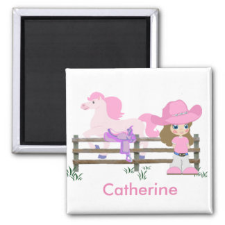 Western Little Cowgirl With Horse 2 Inch Square Magnet