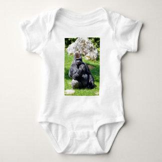 Western lowland gorilla sitting grass baby bodysuit