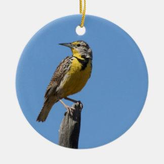 Western Meadowlark Ceramic Ornament
