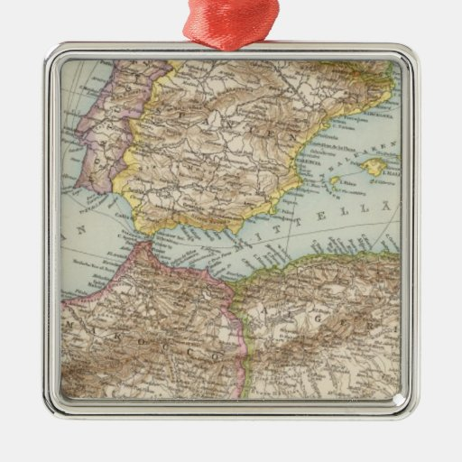 Western Mediterranean Map Square Metal Christmas Ornament