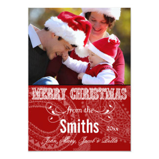 Western Merry Christmas Family Photo Cards Personalized Invitations