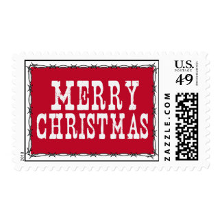 Western Merry Christmas Stamp