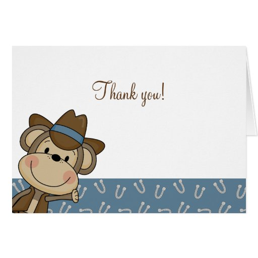 Western Monkey Baby Shower Thank you notes