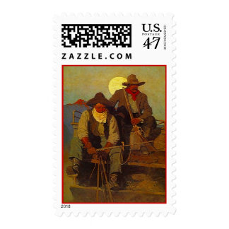 Western Moonlight Wagon Riders Cowboys STAMPS