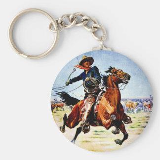 Western Nostalgia Basic Round Button Keychain