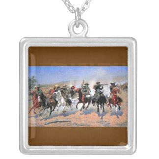 Western Nostalgia Square Pendant Necklace