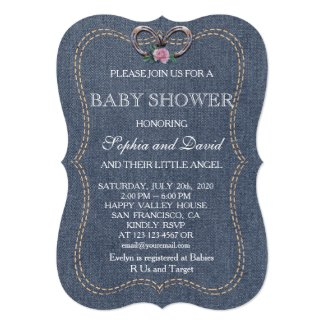 Western Old Denim Horseshoes BABY SHOWER Invite