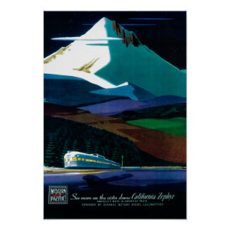 Western Pacific California Zephyr Vintage Poster