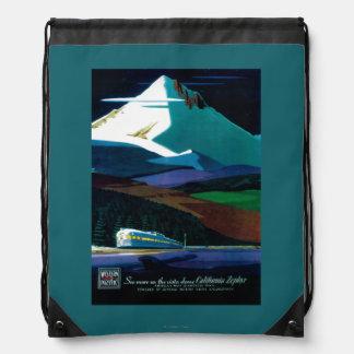 Western Pacific California Zephyr Vintage Poster Drawstring Bag