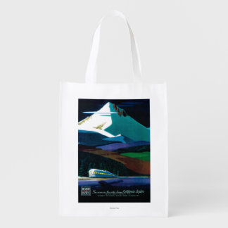 Western Pacific California Zephyr Vintage Poster Grocery Bags