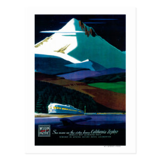 Western Pacific California Zephyr Vintage Poster Postcard