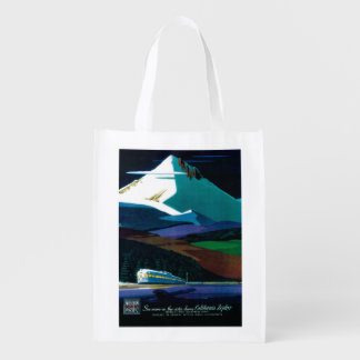 Western Pacific California Zephyr Vintage Poster Reusable Grocery Bags