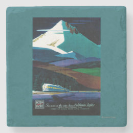 Western Pacific California Zephyr Vintage Poster Stone Coaster