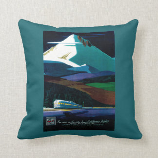 Western Pacific California Zephyr Vintage Poster Throw Pillow