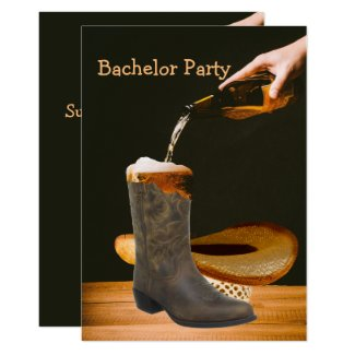 Western Party Bachelor Cowboy Hat Beer Card