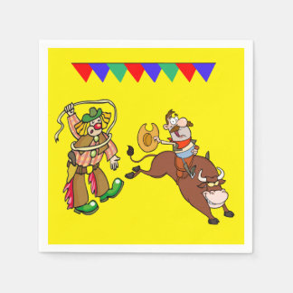 Western Party Bull Rider and Rodeo Clown Paper Napkin