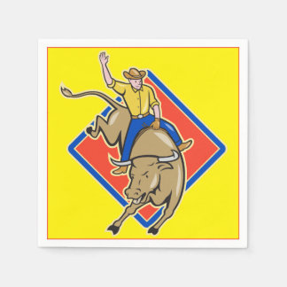 Western Party Bull Rider Cowboy Paper Napkin