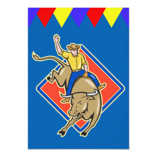 Western Party Bull Rider Invitation Personalize