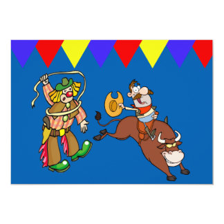 Western Party Bull Rider Rodeo Clown Personalize Card
