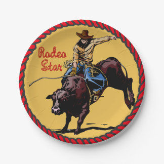 Western Party Bull Riding Paper Plates 7 Inch Paper Plate