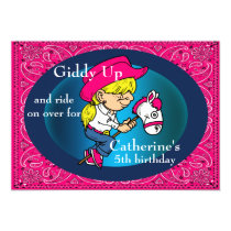Western Party  Cartoon Cowgirl On Stick Horse Card