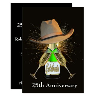 Western Party Champagne And Cowboy Hat Custom Card