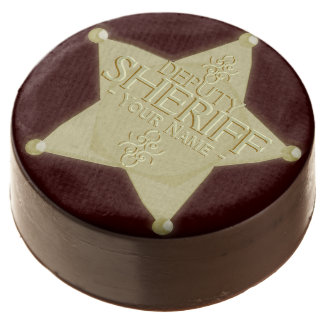 Western Party Deputy Sheriff Name Badge Chocolate Dipped Oreo