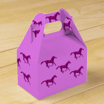 Western Party Favor Or Gift Box Purple Horses