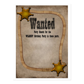 Western party Invite Post Card