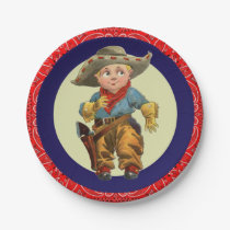 Western Party Little Cowboy Red Bandana Paper Plate
