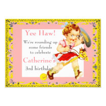 Western Party Little Cowgirl On Stick Horse Invitation