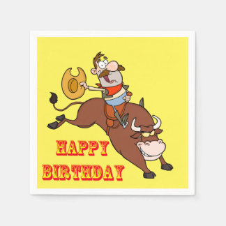 Western Party Napkins Cartoon Cowboy Bull Riding