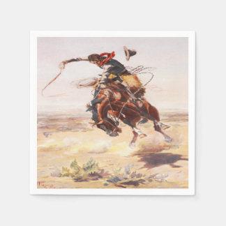 Western Party Napkins Cowboy Riding  Bucking Horse