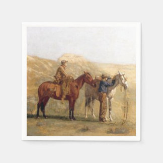 Western Party Napkins Cowboys With Horses Vintage