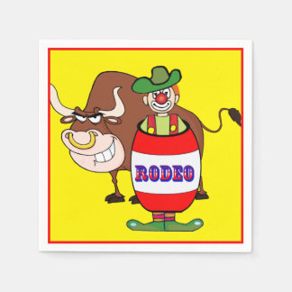 Western Party Rodeo Clown In Barrel And Bull Napkin