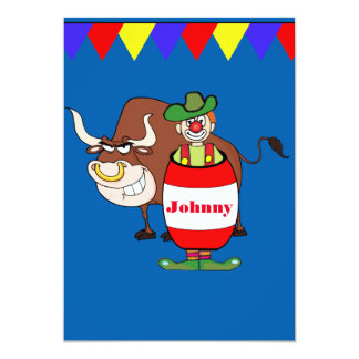 Western Party Rodeo Clown With Bull Personalize Card