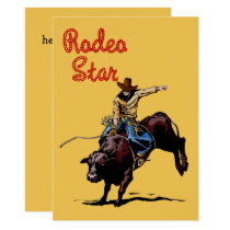 Western Party Rodeo Cowboy Bull Rider Invitation