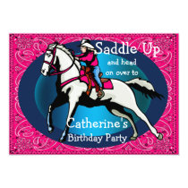 Western Party Rodeo Cowgirl Horse Barrel Racing Card